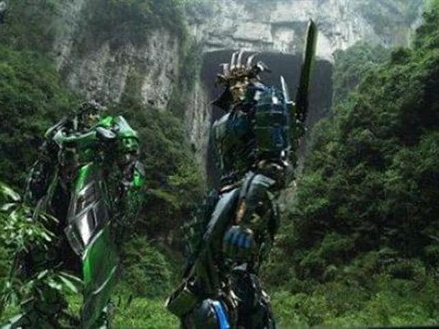 "A scene in ""Transformers: Age of Extinction"" shows alien robots at the Wulong Scenic Area in Chongqing, China."