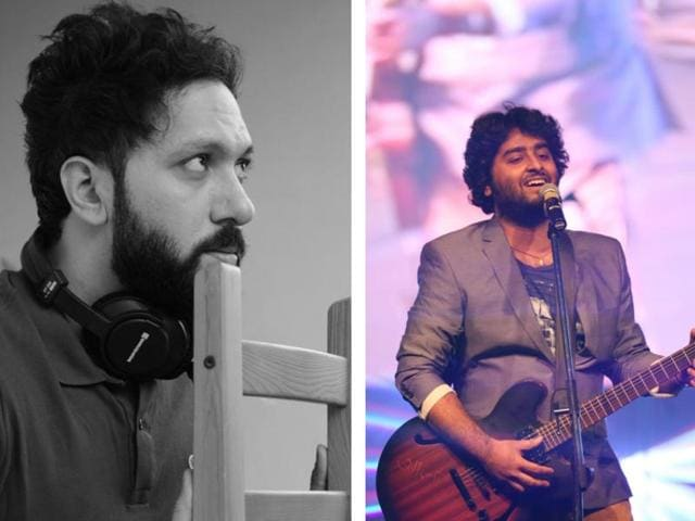 Music composer Abhijit Vaghani says he has sorted out his differences with singer Arijit Singh (R).