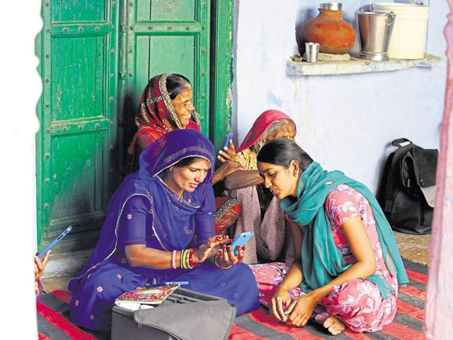 The programme first chooses a few women and trains them on how to use a mobile phone, shoot photos and videos and the basics of Internet. Then the women are sent out on bicycles with a smartphone and a tablet to teach others in their villages.