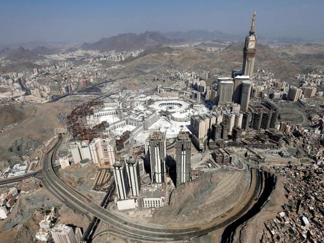 Aerial view of Kaaba at the Grand mosque in Mecca.