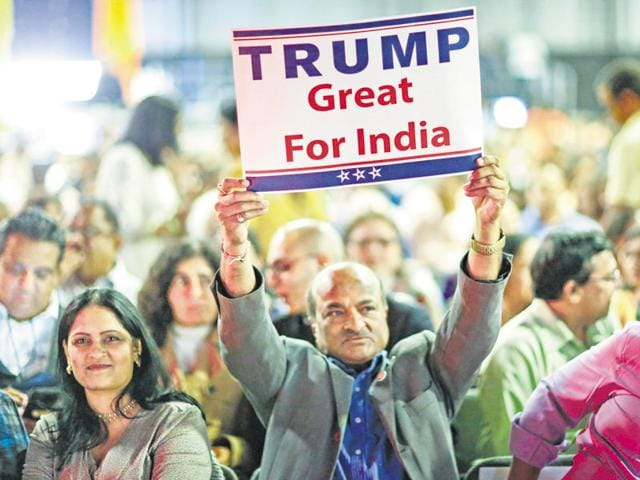 A supporter of Republican presidential candidate Donald Trump at the Republican Hindu Coalition's Humanity United Against Terror Charity event, October 15, Edison, New Jersey.(AFP)