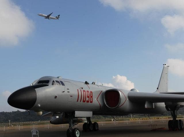 A B-6K strategic bomber aircraft of the Chinese Air Force is seen before the China International Aviation and Aerospace Exhibition in Zhuhai, Guangdong province.
