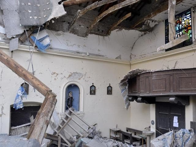 A view of a damaged church in the village of Visso, Italy.