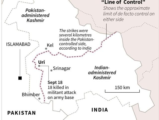 A map of Kashmir showing the de facto Line of Control  and the location of Uri where a military base was attacked following which relations between India and Pakistan have gone sour. - AFP / AFP / AFP