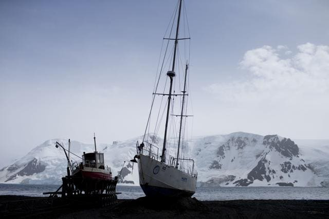 In this Jan. 25, 2015 photo, Chile's Navy ship Aquiles moves alongside the Hurd Peninsula, seen from Livingston Islands, in Antarctica. The countries that decide the fate of Antarctica agreed on October 28 to create the world's largest marine protected area in the ocean next to the frozen continent