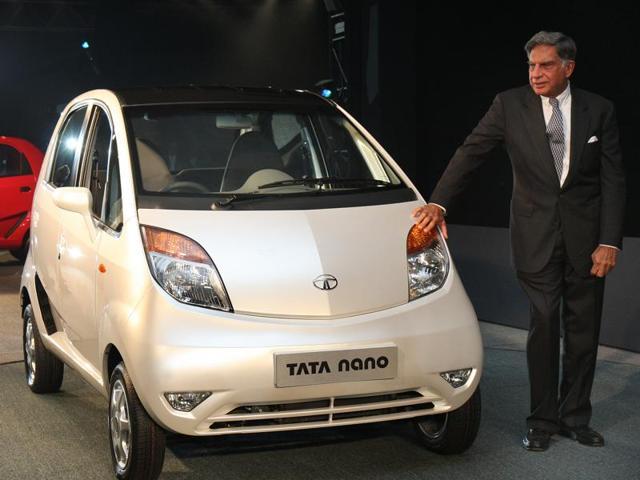 Ratan Tata during the launch of Tata Nano at the 9th Auto Expo in New Delhi in January 2008.