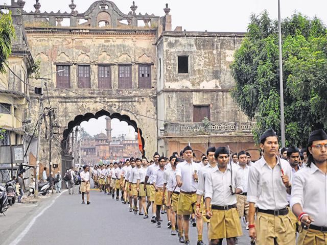 RSS worker in Bhopal. The organisation is of the firm and shortsighted conviction that imposing Hindi is the only way Bharatiya culture can be inculcated in the people