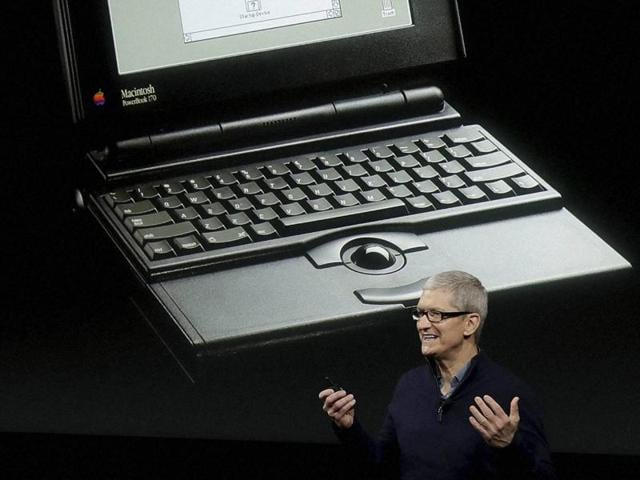 Apple CEO Tim Cook speaks about the 25th anniversary of the Macbook during an announcement of new products Thursday.