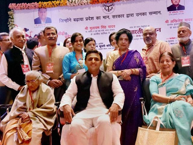 Uttar Pradesh chief minister Akhilesh Yadav with awardees at Yash Bharti Samman function in Lucknow on Thursday.