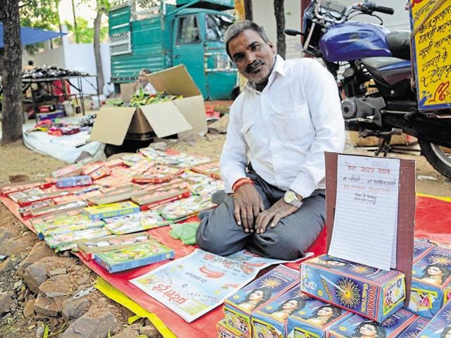 Vendor Mohan Dhakad with his wares.