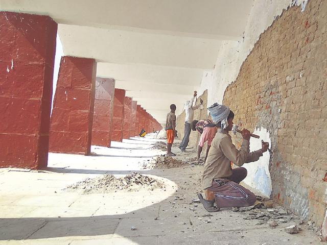 Renovation work is on at the Brahma Sarovar site.