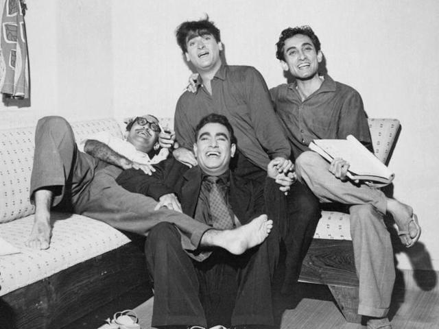 Nasir Husain, Shammi Kapoor, Rajendra Nath and Tahir Husain in one photograph.