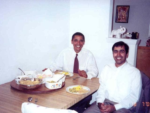 The 30-second video shows one of the pictures of Obama at Krishnamoorthi's home having Indian food at a dinner.
