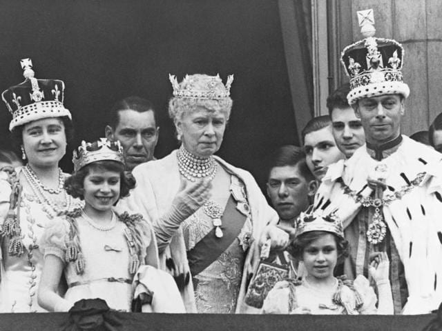The royal family of Great Britain on the balcony at Buckingham Palace after the coronation of King George VI of England on May 12, 1937. (From left to right): Queen Elizabeth, Princess Elizabeth, the Queen Mother, Princess Margaret, and King George VI. The Kohinoor is in the crown specially created for the coronation of Queen Elizabeth (mother of the reigning monarch)(Corbis via Getty Images)