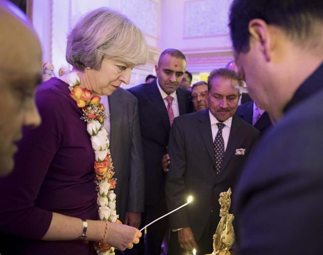 British Prime Minister Theresa May at a Diwali reception in her official residence 10 Downing Street in London last week.