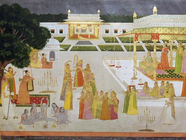 A princess and her ladies celebrating Diwali in a palace garden with yogis and yoginis, from the Mughal school of painting, from the V&A's collection. (Photo by CM Dixon/Print Collector/Getty Images)