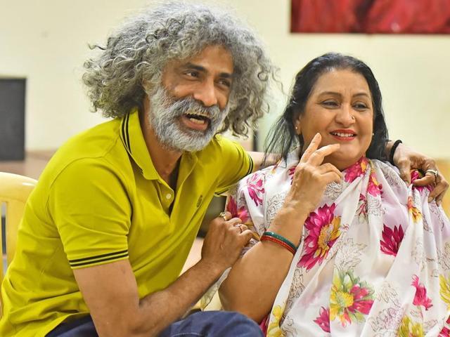Makarand Deshpande and Nadira Babbar during the rehearsal of a play rehearsal at Juhu, in Mumbai.