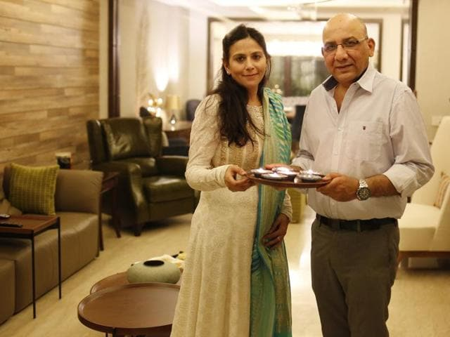 Entrepreneur Pawan Abbott and his wife Tanu celebrating Diwali  at their new house in South Delhi.