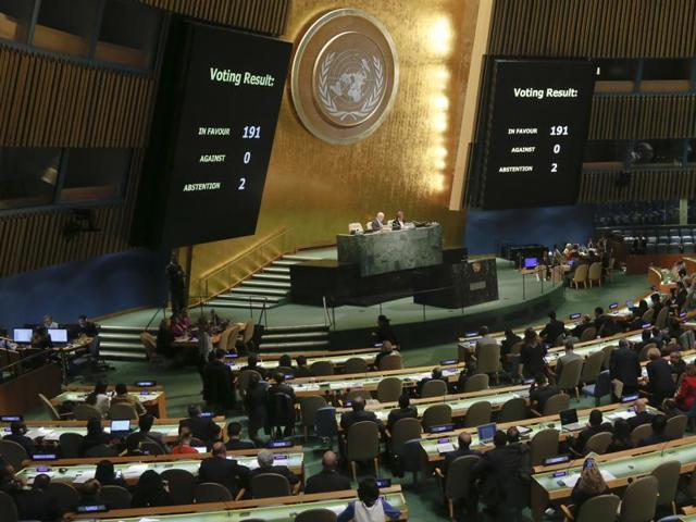 Large display monitors show the result of voting from member states during a meeting of the U.N. General Assembly, Wednesday Oct. 26, 2016, at U.N. headquarters. The United States abstained for the first time in 25 years on a U.N. resolution condemning America's economic embargo against Cuba, a measure it had always vehemently opposed. (AP Photo/Bebeto Matthews)