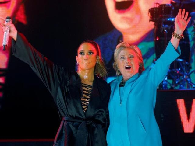 US Democratic presidential nominee Hillary Clinton took to the stage with Jennifer Lopez in Miami.