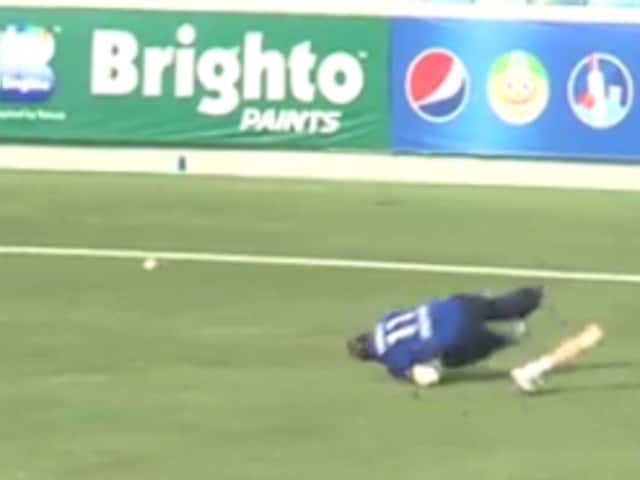 England cricketer Liam Thomas' pulls off a stunning save on the boundary despite losing his prosthetic leg.