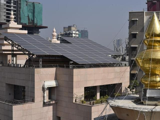 Installed solar panel system and rainwater harvesting facility at Siddhivinayak temple in Mumbai