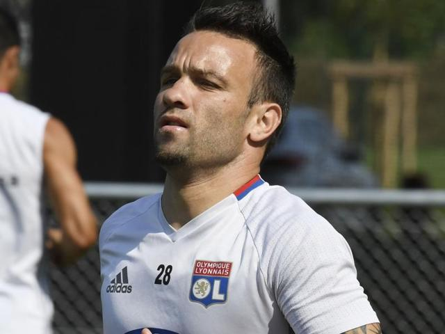 Lyon's Mathieu Valbuena looks on during their French League One soccer match against Montpellier.