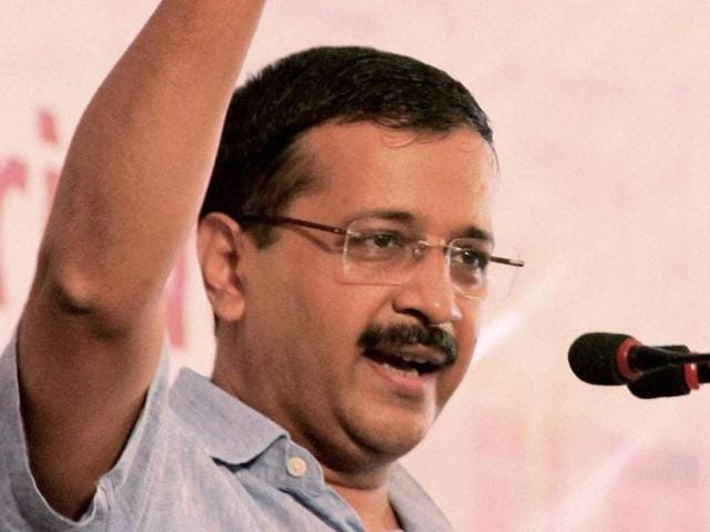 Delhi chief minister and AAP chief Arvind Kejriwal addresses a gathering in Bathinda.