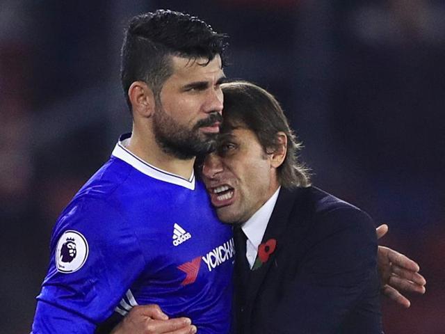Costa celebrates scoring Chelsea's second goals.