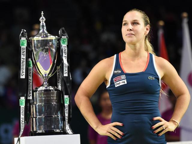 Kerber, left, watches as Cibulkova delivers her speech during the post-match presentation ceremony.