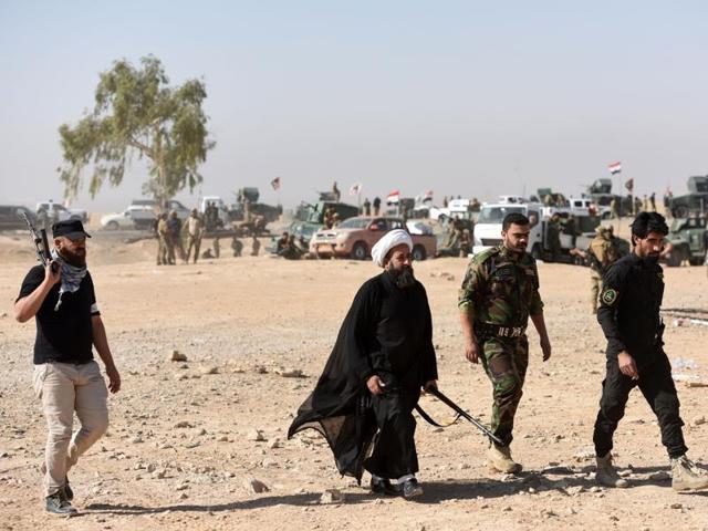 Iran-trained militia outside Mosul