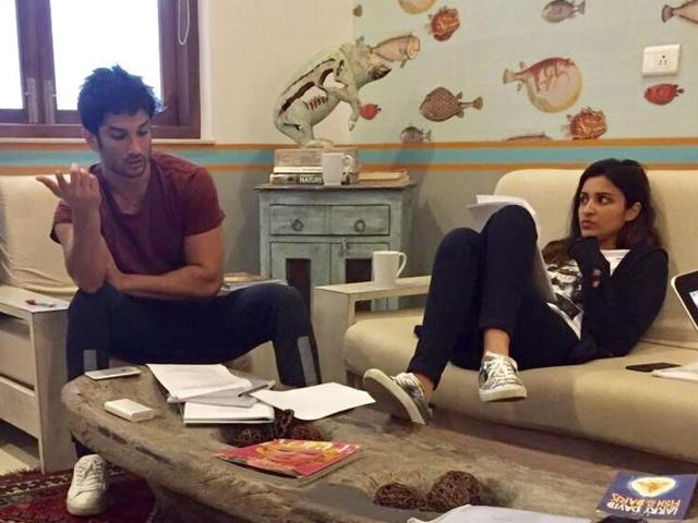 Parineeti shared this picture of herself and Sushant, reading lines for Takadum in October.