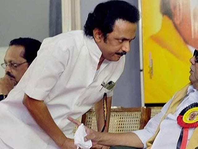 DMK Treasurer M K Stalin (L) escaped unhurt today when the car in which he was travelling met with a minor accident in the district.