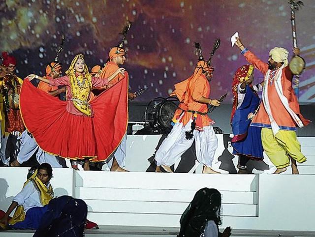 Artistes perform a dance during the full dress rehearsal on Monday.