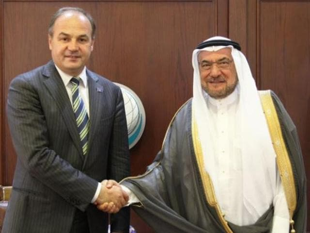 File photo of former OIC secretary-general Iyad Madani  (right) with Kosovo's foreign minister Enver Hoxhaj.