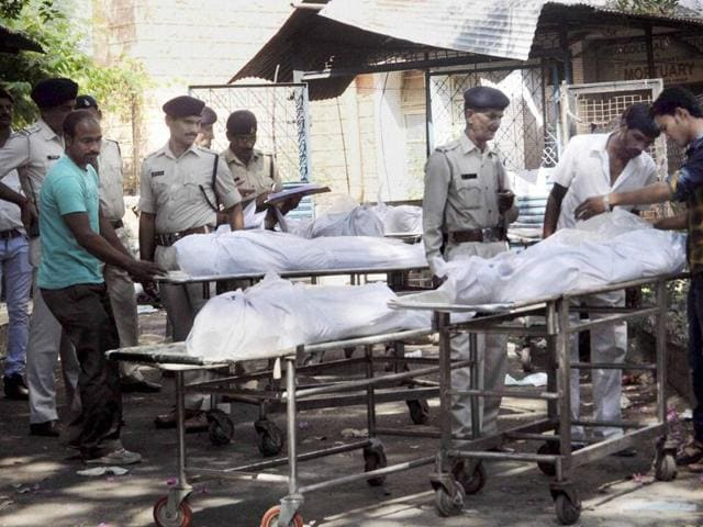 Bodies of SIMI terrorists who were killed in Monday's encounter, being handed over to their relatives and family members in Bhopal on Tuesday.