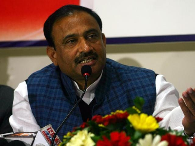 Madhya Pradesh home minister Bhupendra Singh addressing a press conference.