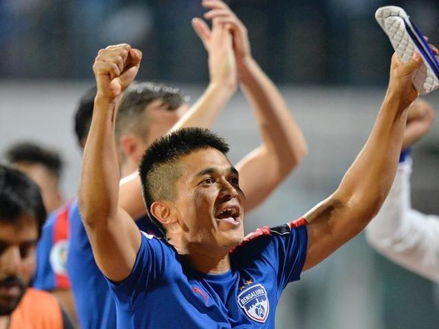 Sunil Chhetri celebrates Bengaluru FC's AFCCup semifinal win against Johor Darul Ta'zim.