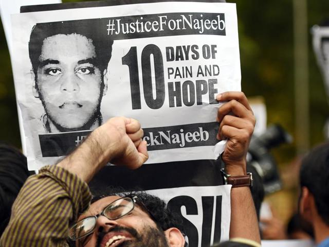 JNU students have been demanding action in the case of Najeeb Ahmad, who has been missing since October 15, 2016.