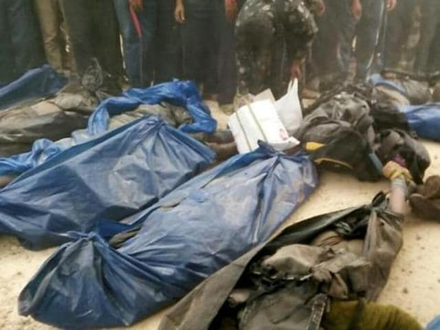 Malkangiri: dead bodies of 23 maoist killed in a joint police encounter by Odisha and Andhra police at a forest in Malkangiri on Monday.