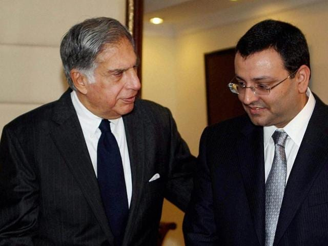 A file photo of Ratan Tata with ousted chairman Cyrus Mistry.