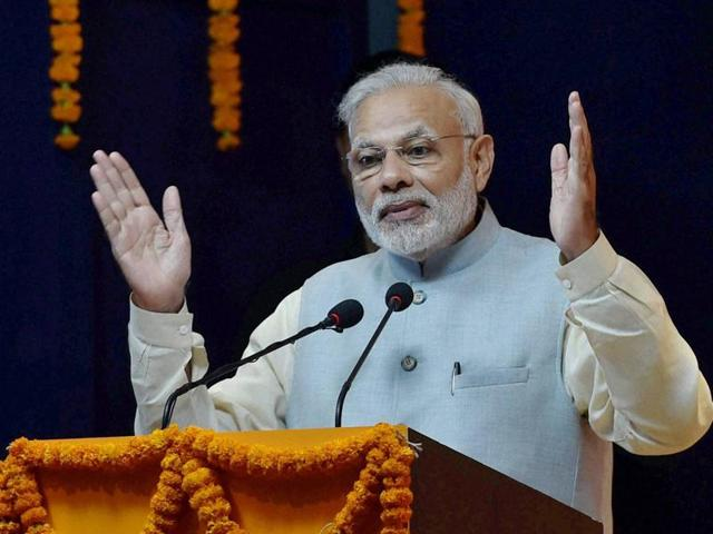 Prime Minister Narendra Modi addresses the audience at the inauguration of a digital exhibition on the occasion of Rashtriya Ekta Diwas, in New Delhi on Monday.