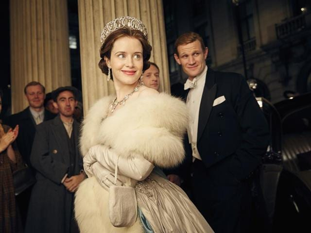 Claire Foy and Matt Smith star as the Queen and Prince Philip in The Crown.