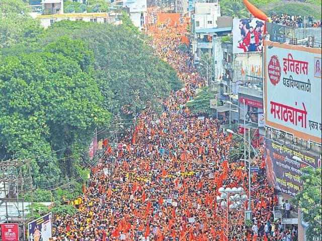 Marathas in Maharashtra participate in a stir in October 2016. At one-third of Maharashtra's population, Marathas are estimated to be around 37 million.
