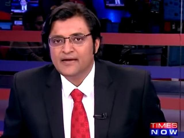 A screen  shot of Arnab Goswami on his show, Newshour which airs on Times Now
