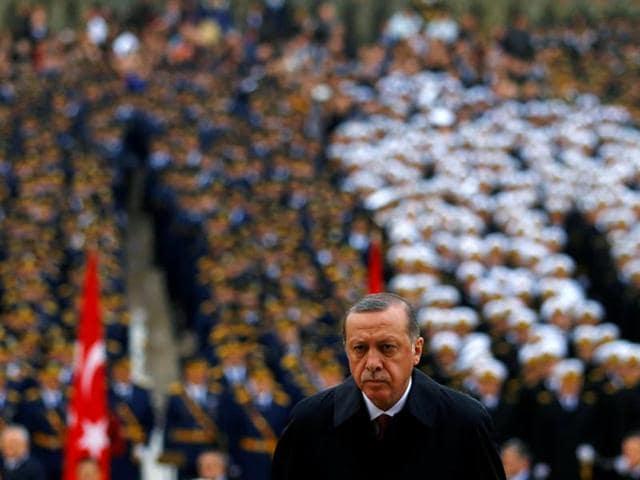 Turkey's President Tayyip Erdogan attends a Republic Day ceremony at Anitkabir, the mausoleum of modern Turkey's founder Ataturk, to mark the republic's anniversary in Ankara, Turkey, on October 29, 2016.