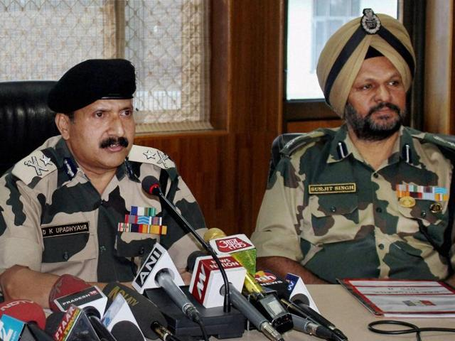 BSF inspector general DK Upadhyay addresses a news press conference at BSF's Paloura Camp in Jammu on Wednesday.