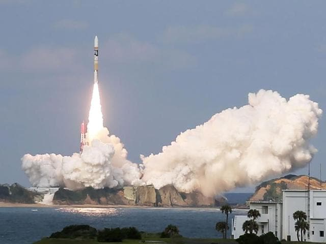 Japan's H-2A rocket, carrying a Himawari-9 weather satellite, was launched at the Tanegashima Space Center on Wednesday.