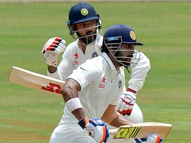 Dhawan, left, is nursing a finger injury, while Rahul suffered a hamstring strain in the first Test against New Zealand.