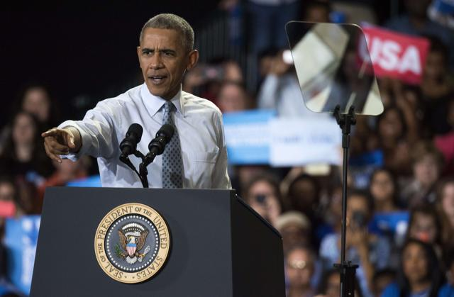 US President Barack Obama speaks during a campaign event for Hillary Clinton in Columbus, Ohio.